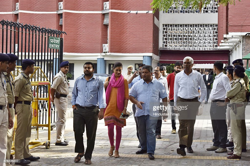 AAP leaders coming out after the meeting with Election Commissioner at Election Commission office on July 21 2016 in New Delhi India The Election...