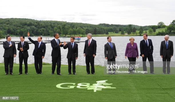 G8 Leaders European Commission president Jose Manuel Barroso Naoto Kan of Japan Silvio Berlusconi of Italy Barack Obama of the United States Nicolas...