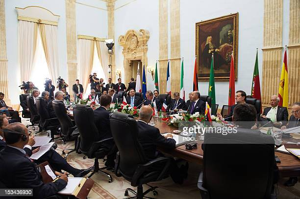 Leaders from France Italy Malta Portugal and Spain with their counterpqrts from Algeria Libya Mauritania Morocco and Tunisia take place in a...