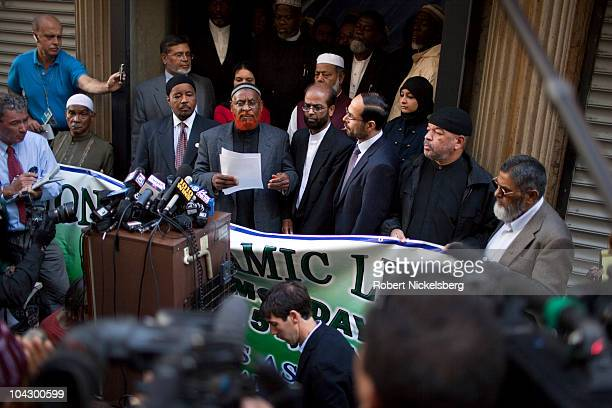 Leaders from various Muslim organizations hold a press conference in front of the proposed site of the Park51 Mosque near Ground Zero September 20...