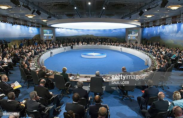 Leaders hold a meeting on Afghanistan during the NATO 2014 summit at the Celtic Manor Hotel in Newport South Wales on September 4 2014 The NATO...