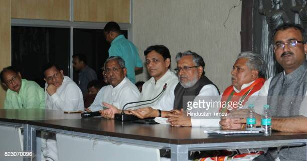 BJP leaders holding a meeting after Bihar Chief Minister Nitish Kumar submitted his resignation at Raj Bhawan on July 26 2017 in Patna India Nitish...