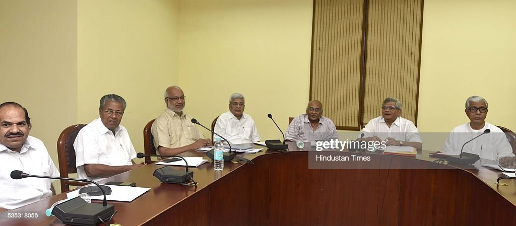 CPI (M) leaders including New Kerala CM Pinarayi Vijayan (2L) take part in the Polit Bureau meeting at CPI (M) office at Gole Market, on May 29, 2016 in New Delhi, India.