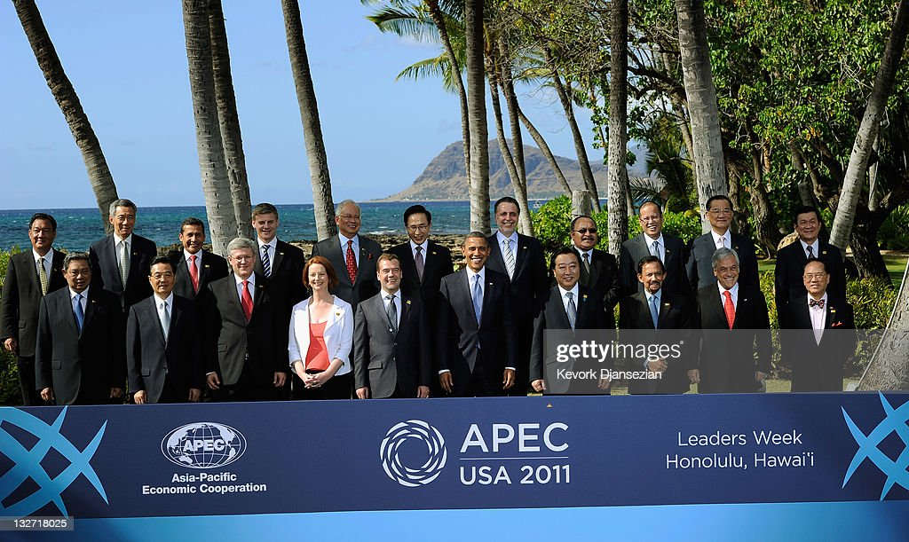 APEC leaders (from L-R, first row) Indonesian President Susilo Bambang, Chinese President Hu Jintao, Canada's Prime Minister Stephen Harper, Australian Prime Minister Julia Gillard, Russian President Dmitry Medvedev, U.S. President Barack Obama, Japanese Prime Minister Yoshihiko Noda, Brunei's Sultan Hassanal Bolkiah, Chile's President Sebastián Piñera, Hong Kong Chief Executive Donald Tsang, (from L-R, second row) Thai Deputy Prime Minister Kittirat Na-Ranong, Singapore Prime Minister Lee Hsien Loong, Peru President Ollanta Humala, New Zealand Deputy Prime Minister Bill English, Malaysian Prime Minister Najib Razak, South Korean President Lee Myung-Bak, Mexican Trade Minister Bruno Ferrari, Papua New Guinea Prime Minister Peter O'Neill, Philippine President Benigno Aquino, Taiwan's special envoy Lien Chan, and Vietnamese President Truong Tan Sang pose for a portrait on November 13, 2011 during the Asia-Pacific Economic Cooperation (APEC) Summit in Kapolei, Hawaii. The United States hosted this year's APEC summit, with leaders from the 21 member economies convening on the island of Oahu.