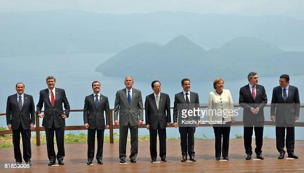 G8 leaders Italian Prime Minister Silvio Berlusconi Canadian Prime Minister Stephen Harper Russian President Dmitry Medvedev US President George W...