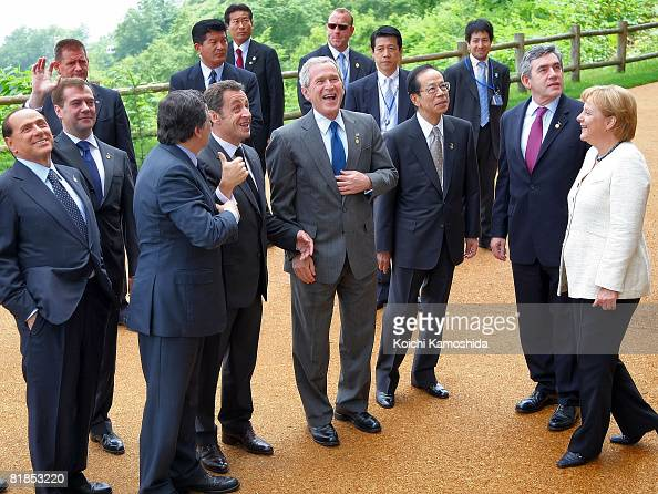 G8 leaders Italian Prime Minister Silvio Berlusconi Russian President Dmitry Medvedev EU Commission President Jose Manuel Barroso French President...