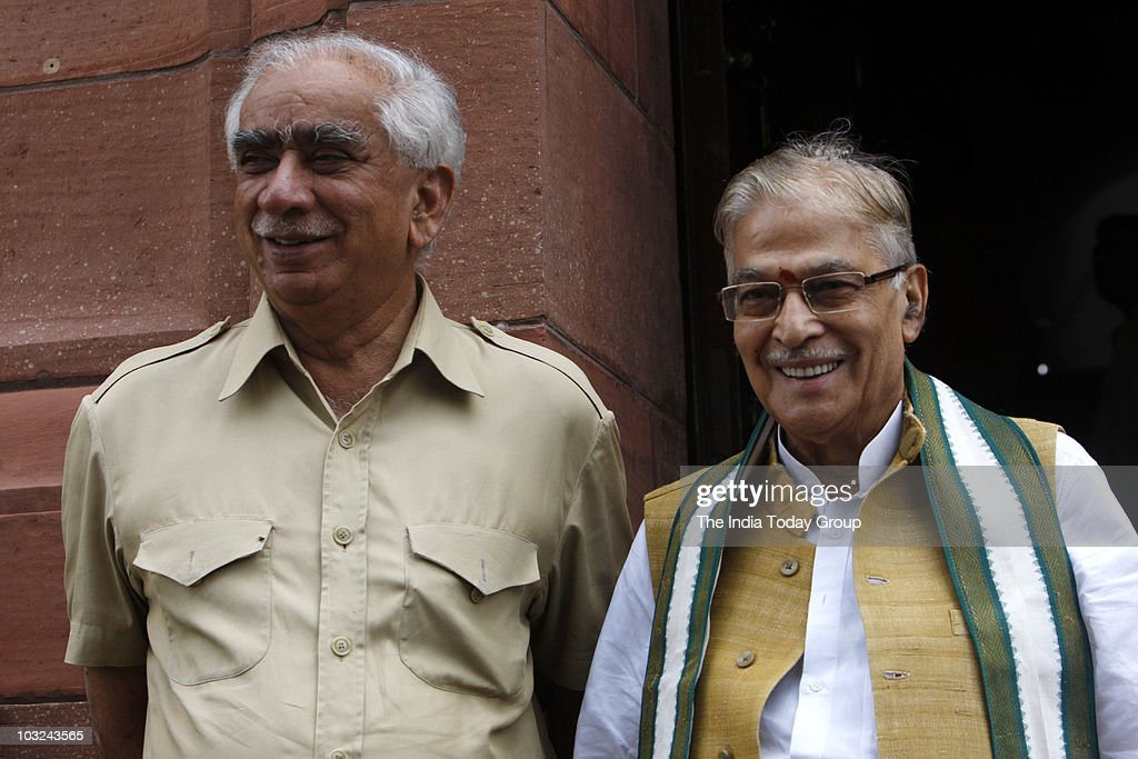 BJP leaders <a gi-track='captionPersonalityLinkClicked' href=/galleries/search?phrase=Jaswant+Singh&family=editorial&specificpeople=220287 ng-click='$event.stopPropagation()'>Jaswant Singh</a> and Murli Manohar Joshi outside Parliament in New Delhi on August 4, 2010.