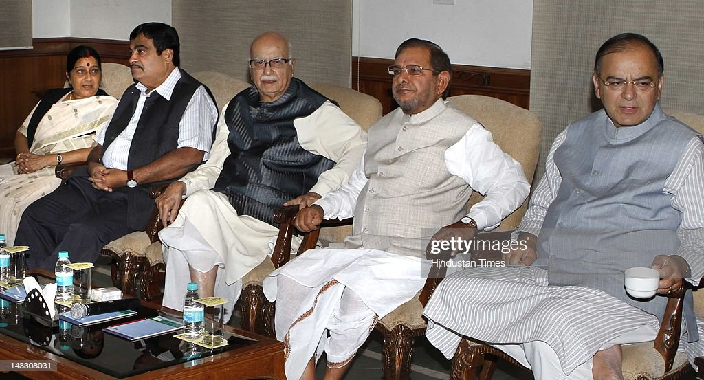 NDA leaders <a gi-track='captionPersonalityLinkClicked' href=/galleries/search?phrase=Jaswant+Singh&family=editorial&specificpeople=220287 ng-click='$event.stopPropagation()'>Jaswant Singh</a>, <a gi-track='captionPersonalityLinkClicked' href=/galleries/search?phrase=Sushma+Swaraj&family=editorial&specificpeople=2147656 ng-click='$event.stopPropagation()'>Sushma Swaraj</a>, Nitin Gadkari, L K Advani, Sharad Yadav and Arun Jaitley attend the NDA meeting at Advani's residence on April 23, 2012 in New Delhi, India. Before the start of 2nd term of Parliamentary Budget session, NDA coalition partners are looking forward to corner UPA government on issues like price rise, corruption in Defence deals and bills like Lokpal bill and Education bill.