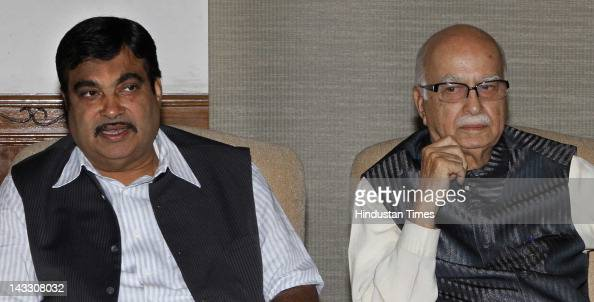 BJP leaders L K Advani and Nitin Gadkari attend the NDA meeting at his residence on April 23 2012 in New Delhi India Before the start of 2nd term of...