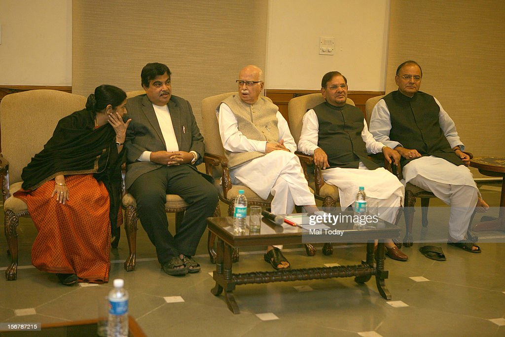 BJP leaders LK Advani, Sushma Swaraj, Nitin Gadkari, Arun Jaitley, JD-U President Sharad Yadav and other senior leaders at an NDA meeting in New Delhi on Tuesday.