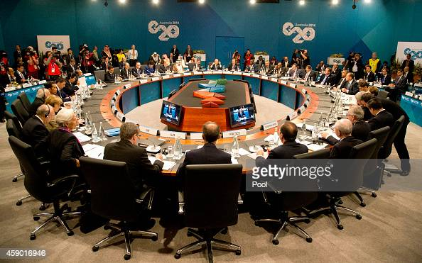 Leaders meet during a plenary session at the G20 summit on November 15 2014 in Brisbane Australia World leaders have gathered in Brisbane for the...