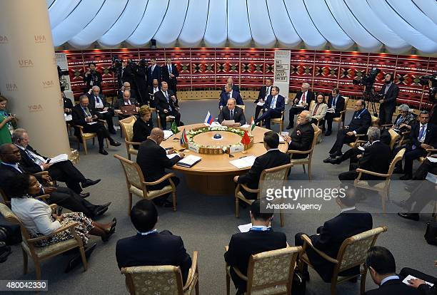 Leaders meet during the second day of SCO and BRICS summit in Ufa the capital of the Bashkortostan republic Russia on July 09 2015 Ufa is hosting...