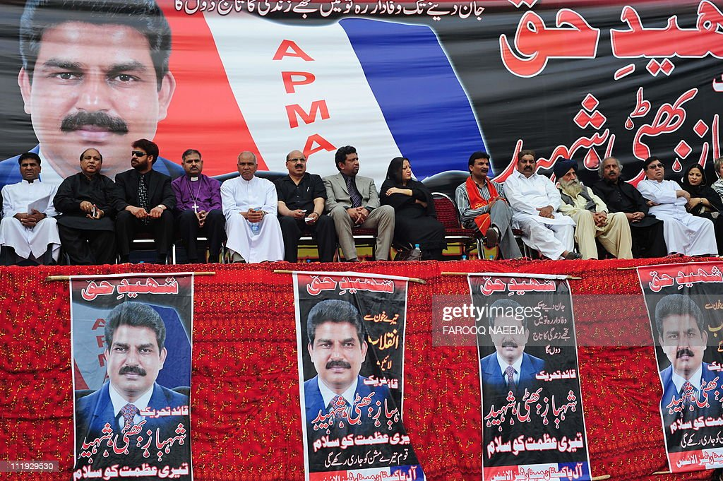 Leaders of All Pakistan Minorities Alliance (APMA) gather for special prayers in memory of slain Christian minister Shahbaz Bhatti in Islamabad on April 9, 2011. Bhatti, the minister for minorities' affairs, advocated reforms to blasphemy laws which critics say are used to persecute non-Muslims. Bhatti was shot at least 25 times on March 2 as he was leaving his mother's home. AFP PHOTO/Farooq NAEEM