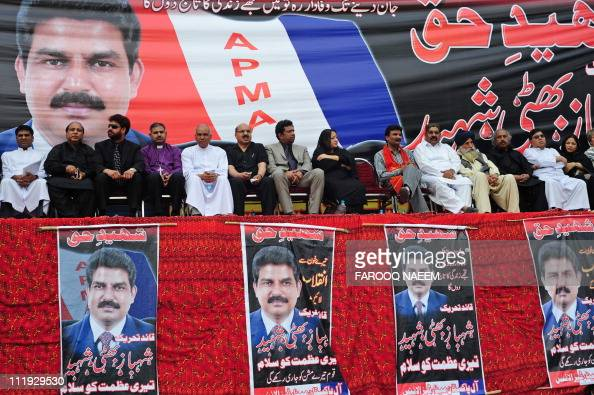 Leaders of All Pakistan Minorities Alliance gather for special prayers in memory of slain Christian minister Shahbaz Bhatti in Islamabad on April 9...