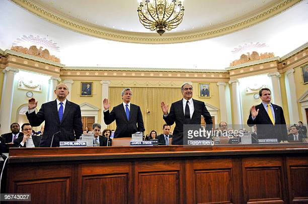 Leaders of four of the biggest US banks including left to right Lloyd Blankfein chairman and and chief executive officer of The Goldman Sachs Group...