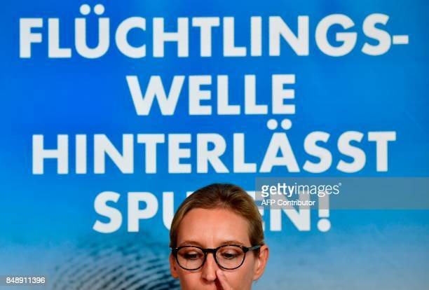 Leaders of Germany's antiIslam antiimmigration AfD party Alice Weidel and Alexander Gauland give a press conference about immigration and Islam on...