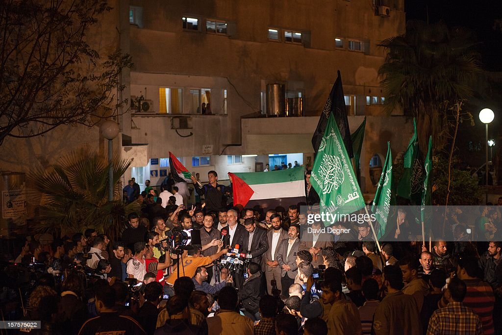 Leaders of Hamas give a press conference in front of the Shifa Hospital after the announcement of a cease fire in Gaza City, Gaza on November 21, 2012.