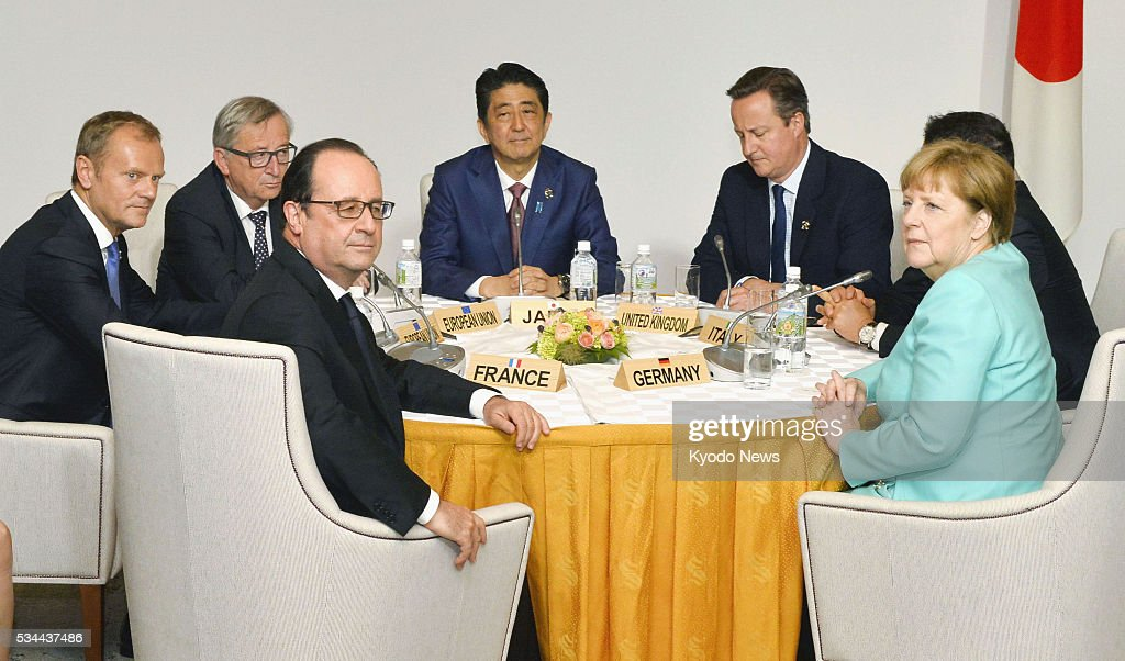 Leaders of Japan and Europe -- (clockwise from L) French President Francois Hollande, European Council President <a gi-track='captionPersonalityLinkClicked' href=/galleries/search?phrase=Donald+Tusk&family=editorial&specificpeople=870281 ng-click='$event.stopPropagation()'>Donald Tusk</a>, European Commission President <a gi-track='captionPersonalityLinkClicked' href=/galleries/search?phrase=Jean-Claude+Juncker&family=editorial&specificpeople=207032 ng-click='$event.stopPropagation()'>Jean-Claude Juncker</a>, Japanese Prime Minister <a gi-track='captionPersonalityLinkClicked' href=/galleries/search?phrase=Shinzo+Abe&family=editorial&specificpeople=559017 ng-click='$event.stopPropagation()'>Shinzo Abe</a>, British Prime Minister <a gi-track='captionPersonalityLinkClicked' href=/galleries/search?phrase=David+Cameron+-+Politician&family=editorial&specificpeople=227076 ng-click='$event.stopPropagation()'>David Cameron</a> and German Chancellor <a gi-track='captionPersonalityLinkClicked' href=/galleries/search?phrase=Angela+Merkel&family=editorial&specificpeople=202161 ng-click='$event.stopPropagation()'>Angela Merkel</a> -- sit for talks at Shima Kanko Hotel in the central Japan city of Shima on May 26, 2016, on the sidelines of the summit of the Group of Seven countries.