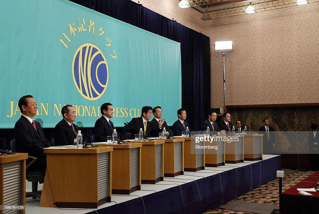 Leaders of Japan's political parties take part in a debate ahead of the Dec. 14 election at the Japan National Press Club in Tokyo, Japan, on Monday, Dec. 1, 2014. <a gi-track='captionPersonalityLinkClicked' href=/galleries/search?phrase=Ichiro+Ozawa&family=editorial&specificpeople=680192 ng-click='$event.stopPropagation()'>Ichiro Ozawa</a>, president of of the People's Life First party, from left, <a gi-track='captionPersonalityLinkClicked' href=/galleries/search?phrase=Takeo+Hiranuma&family=editorial&specificpeople=2078453 ng-click='$event.stopPropagation()'>Takeo Hiranuma</a>, chairperson of the Party for Future Generations, <a gi-track='captionPersonalityLinkClicked' href=/galleries/search?phrase=Kenji+Eda&family=editorial&specificpeople=5666020 ng-click='$event.stopPropagation()'>Kenji Eda</a>, co-leader of the Japan Innovation Party, <a gi-track='captionPersonalityLinkClicked' href=/galleries/search?phrase=Shinzo+Abe&family=editorial&specificpeople=559017 ng-click='$event.stopPropagation()'>Shinzo Abe</a>, Japan's prime minister and president of the Liberal Democratic Party (LDP), <a gi-track='captionPersonalityLinkClicked' href=/galleries/search?phrase=Banri+Kaieda&family=editorial&specificpeople=7193235 ng-click='$event.stopPropagation()'>Banri Kaieda</a>, president of the Democratic Party of Japan (DPJ), <a gi-track='captionPersonalityLinkClicked' href=/galleries/search?phrase=Natsuo+Yamaguchi&family=editorial&specificpeople=5718603 ng-click='$event.stopPropagation()'>Natsuo Yamaguchi</a>, president of the New Komeito party, <a gi-track='captionPersonalityLinkClicked' href=/galleries/search?phrase=Kazuo+Shii&family=editorial&specificpeople=2255749 ng-click='$event.stopPropagation()'>Kazuo Shii</a>, chairman of the Japanese Communist Party, and Tadatomo Yoshidoa, leader of the Social Democratic Party. The economy will matter more to Japanese voters than security and nuclear policies when they cast their votes in the Dec. 14 election, media polls showed. Photographer: Tomohiro Ohsumi/Bloomberg via Getty Images