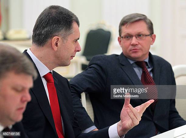 Leaders of nonparliamentary parties Yabloko party leader Sergey Mitrokhin billionaire and businessman Mikhail Prokhorov and opposition politician...