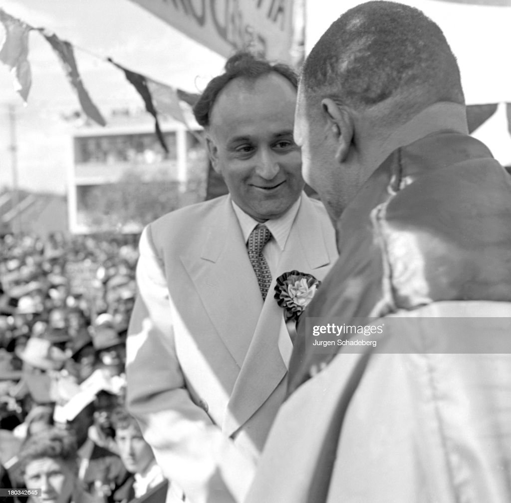 Leaders of the Defiance Campaign, Yusuf Dadoo (1909 - 1983, left), President of the South African Indian Congress, and African National Congress President Dr. James Moroka (1891 - 1985) at a demonstration in Red Square (since renamed Freedom Square) in the Johannesburg suburb of Fordsburg, South Africa, 6th April 1952. The demonstration, in support of the principles of the A.N.C.'s Defiance Campaign of civil disobedience, marks the 300th anniversary of white settlement in the country.