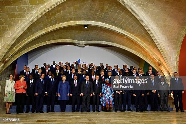 Leaders of the European Union and their African counterparts including British Prime Minister David Cameron Prime Minister of Malta Joseph Muscat...