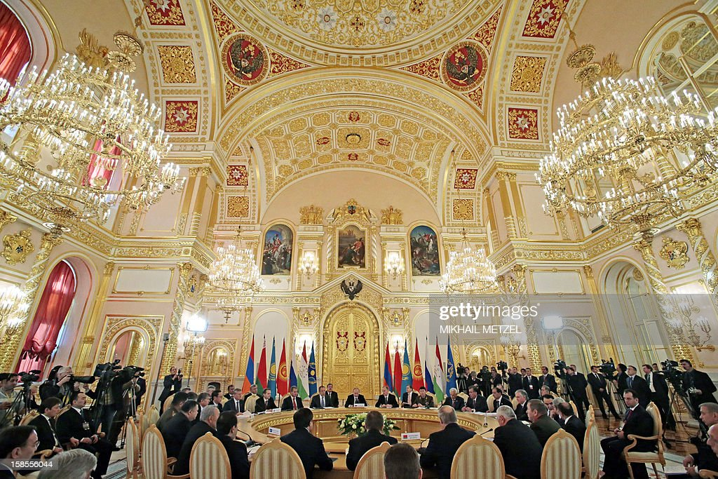 Leaders of the ex-Soviet states meet in the Kremlin in Moscow, on December 19, 2012. Russia sought today to expand its sway over ex-Soviet nations as it hosted economic integration talks Washington has painted as an attempt by Moscow to 're-Sovietise' the region.