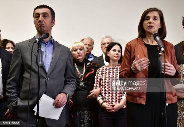 Leaders of the German Green Party Katrin GoeringEckardt and Cem Ozdemir speak after exploratory talks on forming a new government broke down on...