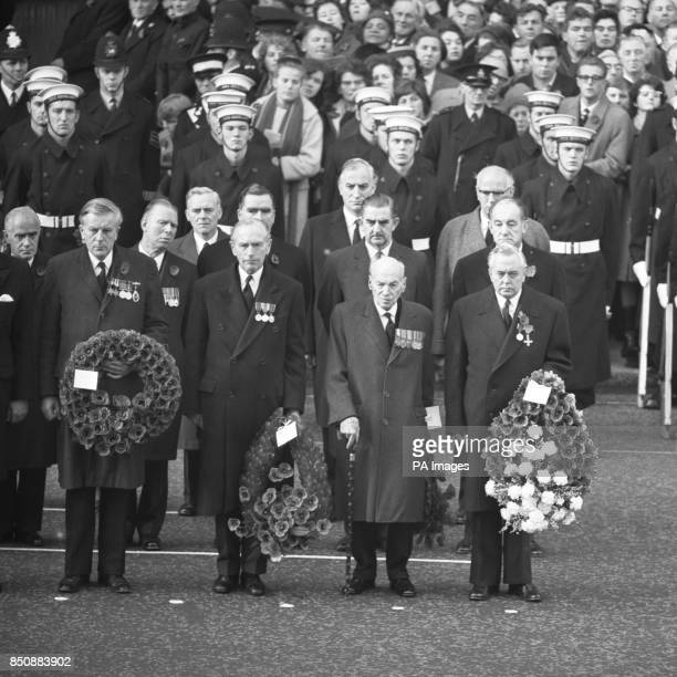 Leaders of the Government and Opposition stand with their wreaths at the Cenotaph in Whitehall during the Rememberance Sunday service Front row...