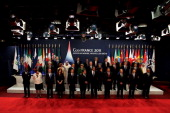 Leaders of the Group of 20 countries pose for the family photograph at the Group of 20 Cannes Summit at the Palais des Festivals on November 3 2011...