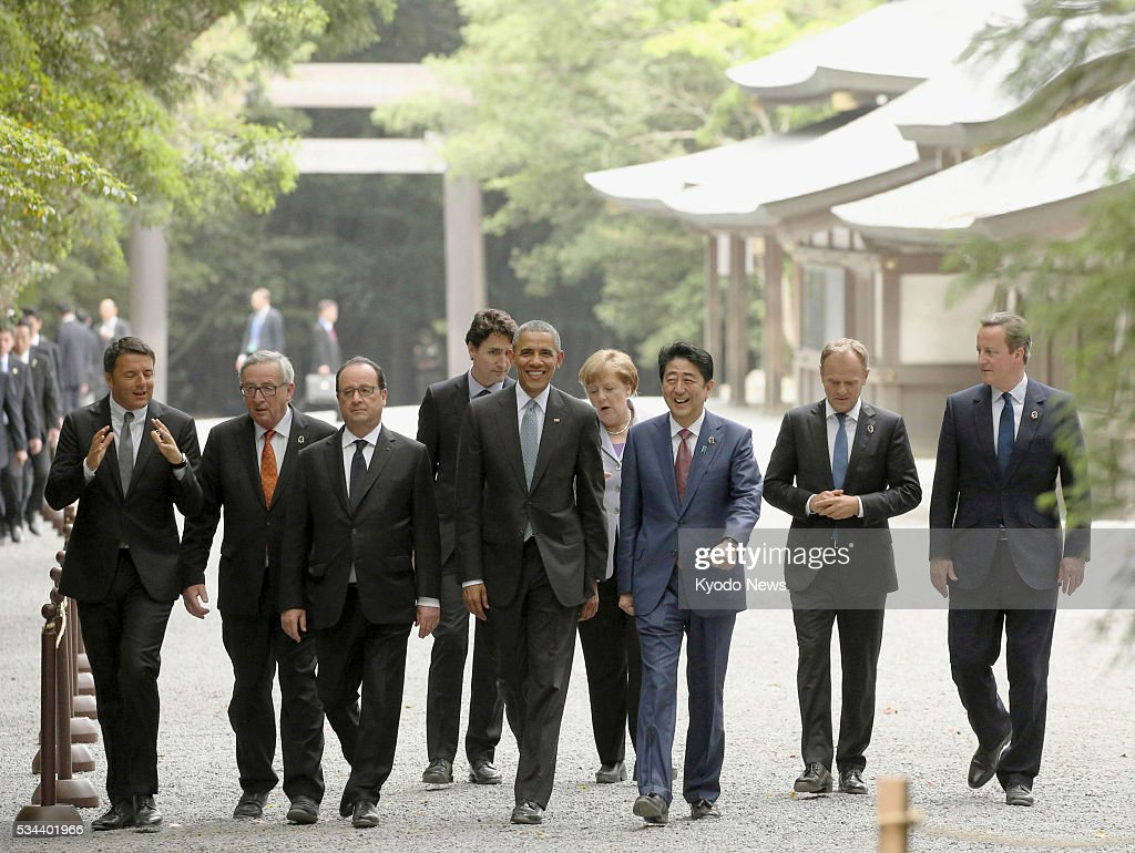 Leaders of the Group of Seven major economies visit Ise Jingu shrine on May 26, 2016, the first day of their summit meeting, in the central Japan city of Ise. (L-R) Italian Prime Minister <a gi-track='captionPersonalityLinkClicked' href=/galleries/search?phrase=Matteo+Renzi&family=editorial&specificpeople=6689301 ng-click='$event.stopPropagation()'>Matteo Renzi</a>, European Commission President <a gi-track='captionPersonalityLinkClicked' href=/galleries/search?phrase=Jean-Claude+Juncker&family=editorial&specificpeople=207032 ng-click='$event.stopPropagation()'>Jean-Claude Juncker</a>, French President Francois Hollande, Canadian Prime Minister <a gi-track='captionPersonalityLinkClicked' href=/galleries/search?phrase=Justin+Trudeau&family=editorial&specificpeople=2616495 ng-click='$event.stopPropagation()'>Justin Trudeau</a>, U.S. President <a gi-track='captionPersonalityLinkClicked' href=/galleries/search?phrase=Barack+Obama&family=editorial&specificpeople=203260 ng-click='$event.stopPropagation()'>Barack Obama</a>, German Chancellor <a gi-track='captionPersonalityLinkClicked' href=/galleries/search?phrase=Angela+Merkel&family=editorial&specificpeople=202161 ng-click='$event.stopPropagation()'>Angela Merkel</a>, Japanese Prime Minister <a gi-track='captionPersonalityLinkClicked' href=/galleries/search?phrase=Shinzo+Abe&family=editorial&specificpeople=559017 ng-click='$event.stopPropagation()'>Shinzo Abe</a>, European Council President <a gi-track='captionPersonalityLinkClicked' href=/galleries/search?phrase=Donald+Tusk&family=editorial&specificpeople=870281 ng-click='$event.stopPropagation()'>Donald Tusk</a> and British Prime Minister <a gi-track='captionPersonalityLinkClicked' href=/galleries/search?phrase=David+Cameron+-+Politicus&family=editorial&specificpeople=227076 ng-click='$event.stopPropagation()'>David Cameron</a>.