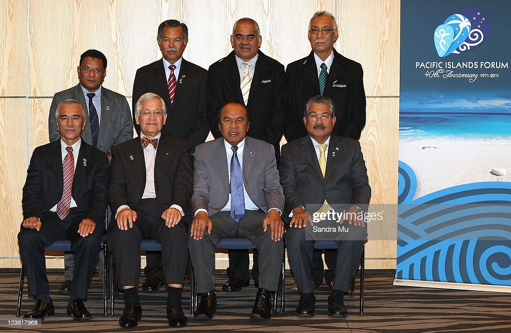 Leaders of the small Islands, President of the Republic Of Naura, Marcus Stephen, Prime Minster of of the Cook Island Henry Puna, Prime Minister of Tuvalu Willie Telavi, Premier of Niue Toke Tufukia Talangi and (Front L-R) President of Kiribati Anote Tong, Secretary General Tuiloma Neroni Slade, President of the Marshall Islands Jurelang Zedkaia, President of Palau John Toribiong pose on September 6, 2011 in Auckland, New Zealand. The annual gathering of leaders of the pacific nations has attracted heavyweight list of guests this year including United Nations Secretary General Ban Ki-moon, European Commission President Jose Manuel Barroso, the French Foreign Minister and the US Deputy Secretary of State. The forum conclusion coincides with the Opening Ceremony of the Rugby World Cup.