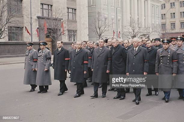 Leaders of the Soviet Union including Communist Party General Secretary Leonid Brezhnev 5th from left and Russian Premier Alexei Kosygin 6th from...