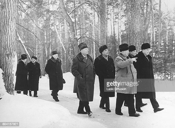 Leaders of the Soviet Union taking a walk in the forest near Moscow Right to left Frol Kozlov Alexei Kosygin Nikita Khrushchev Leonid Brezhnev...