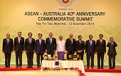 ASEAN leaders pose during the 40th Anniversary summit meeting on the first day of the ASEAN Summit on November 12 2014 in Naypyidaw Burma The Burmese...