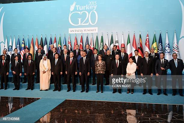 Leaders pose during the G20 Leaders Summit family photo on November 152015 in Antalya Leaders from the world's top 20 industrial powers meet in...