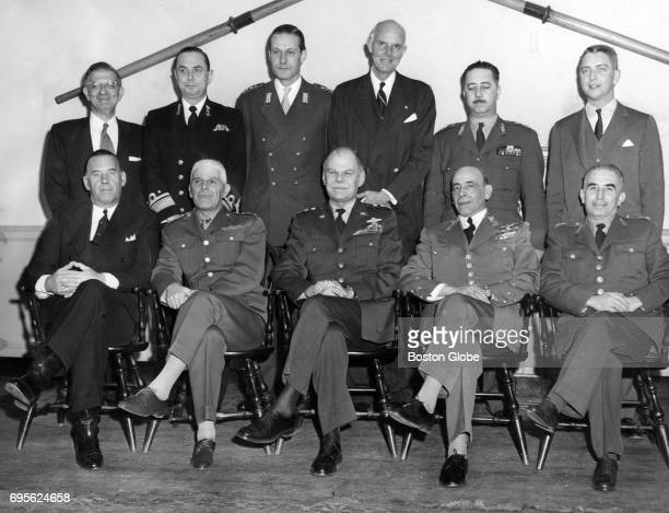 Leaders pose for a photo at the Boston Regional NATO Conference March 1957 Left to right Maj Gen HA Sparling Canada Lt Gen Carlo Cigliana Italy Lt...