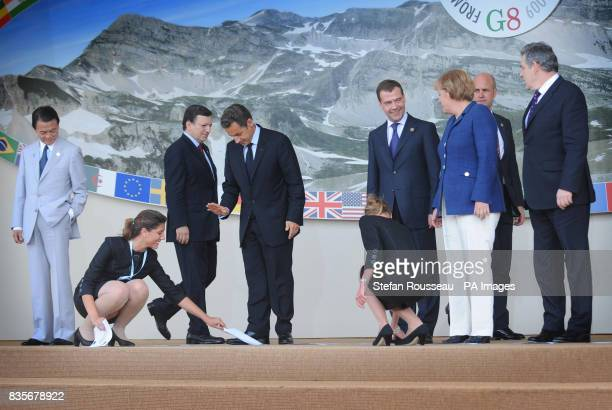 G8 leaders pose for the family photo Japanese Prime Minister Taro Aso President of the EU Commission Jos Manuel Barroso French President Nicolas...