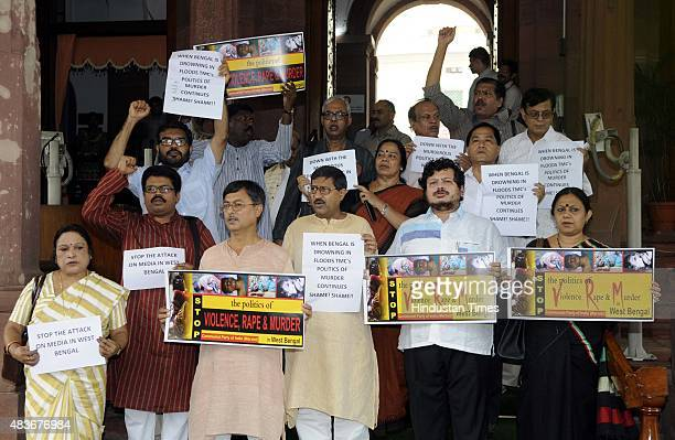 leaders protesting against West Bengal government to stop the politics of valiance rape and murder at Parliament House during the monsoon session on...