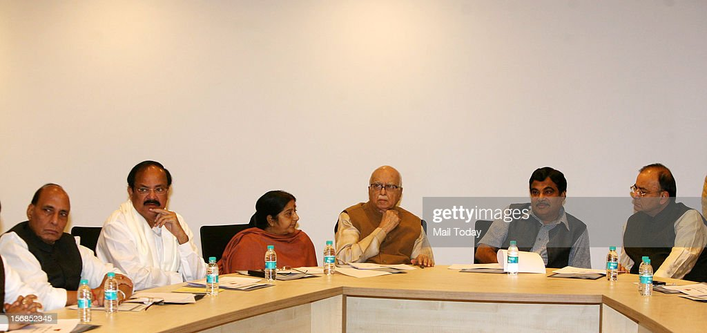 BJP leaders (from left) Rajnath Singh, Venkaiah Naidu, Sushma Swaraj, LK Advani, Nitin Gadkari and Arun Jaitley at a meeting of the party's Central Election Committee (CEC) ahead of the Gujarat elections, in New Delhi.