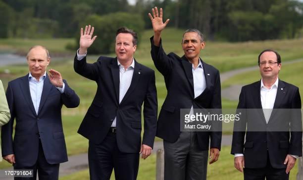 Leaders Russia's President Vladimir Putin Britain's Prime Minister David Cameron US President Barack Obama and French President Francois Hollande...