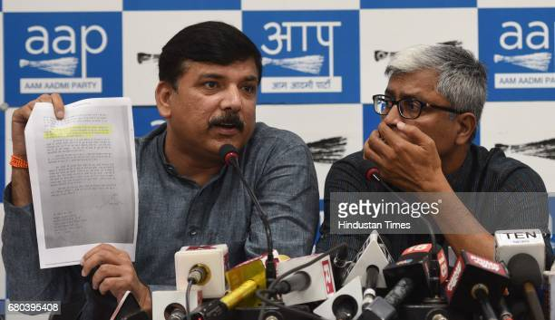 AAP leaders Sanjay Singh and Ashutosh during the press conference on May 8 2017 in New Delhi India Sanjay Singh said that the kind of allegations...