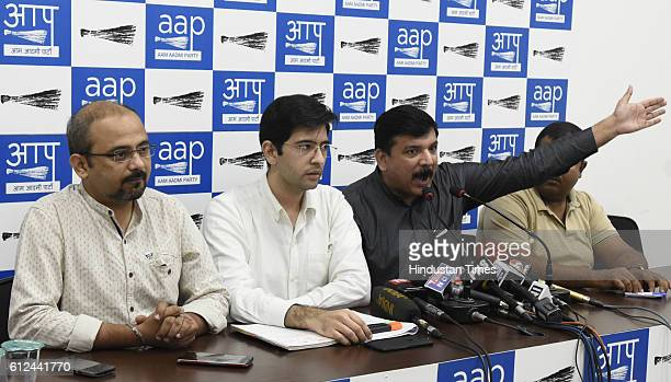 AAP leaders Sanjay Singh Raghav Chadha and Dileep Panday address a press conference on the issue of Arvind Kejriwal's video statement over Army's...