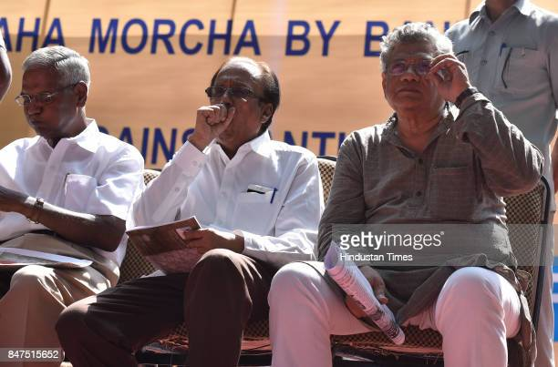 M leaders Sitaram Yechury and D Raja during a protest rally against antipeople banking reform at Jantar Mantar on September 15 2017 in New Delhi India