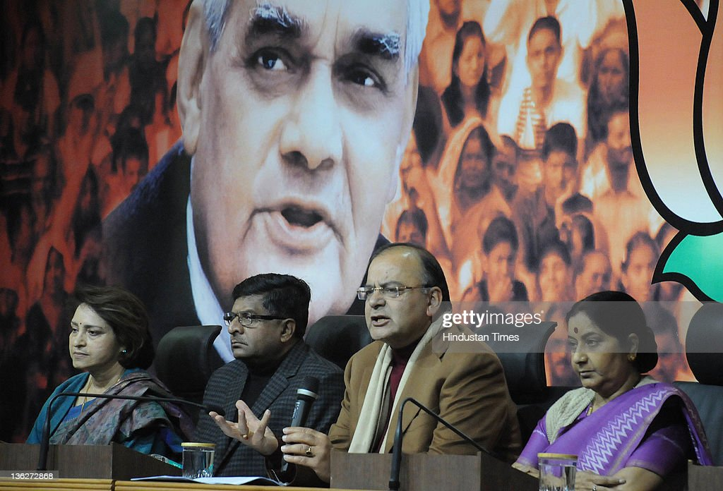 BJP leaders Sushma Swara , Arun Jaitley, Ravi Shankar Prasad and Maya Singh attend a Press Confrence at BJP Headquarter on December 30, 2011 in New Delhi, India. The BJP leaders said that government has lost its moral authority as it ran away from the voting on Lokpal in Rajya Sabha. The Rajya Sabha was adjourned sine die late on December 29, 2011 after a night of drama in the Upper House which ended without vote on the Lokpal Bill. The legislation to appoint an anticorruption watchdog was deferred at least till the next parliamentary session, amid criticism of the decision from an angry opposition.
