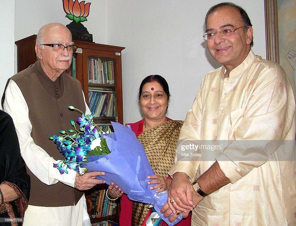 BJP leaders Sushma Swaraj and Arun Jaitley wishing Senior BJP leader LK Advani on his birthday wishes in New Delhi on Thursday.