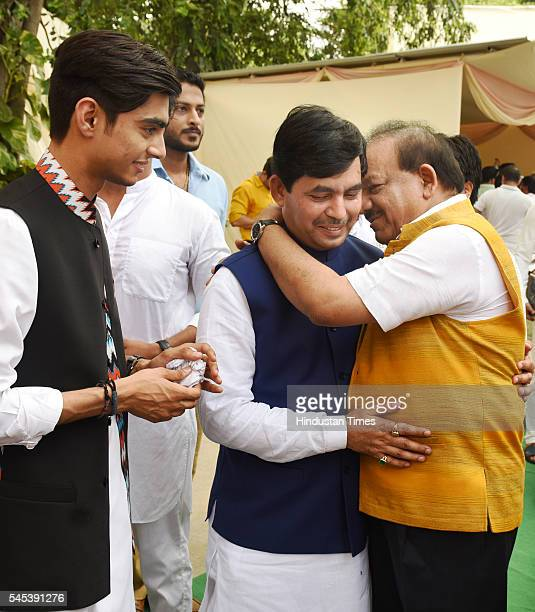 BJP leaders Syed Shahnawaz Hussain and Harsh Vardhan during the Iftar Party at residence of BJP leader Syed Shahnawaz Hussain at Pandit Pant Marg on...
