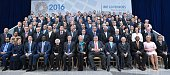 Leaders take part in the International Monetary and Financial Committee family photo during the International Monetary Fund World Bank Spring...