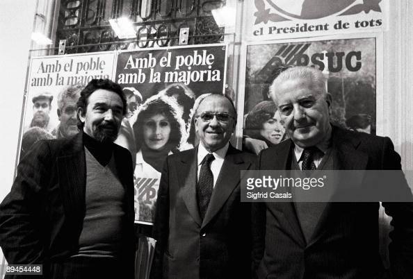 PCEPSUC leaders The comunist leaders Gregorio Lopez Raimundo Santiago Carrillo and Antoni Gutierrez together during the PSUC electoral campaign for...