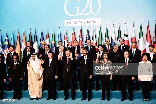 Leaders wave during the G20 Leaders Summit family photo on November 152015 in Antalya Leaders from the world's top 20 industrial powers meet in...